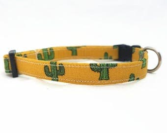 "Cat Collar  - ""Cactus"" - Safety Buckle/Breakaway - Ocher/Mustard Yellow Cat Collar - Hipster Cat Collar - Trendy Cat Collar - Soft/Durable"
