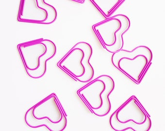 Set of 5 Pink Hearts Paper Clips