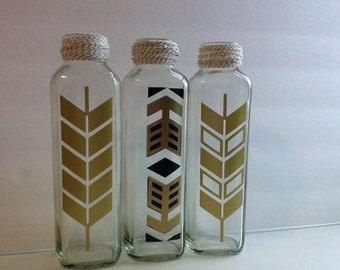 Set of Three Stylized Squared Glass Vases