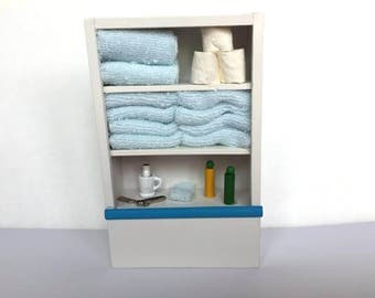 Miniature Dollhouse Bathroom Cabinet Towel Color Choice Dollhouse Furniture 1:12 Scale - 574