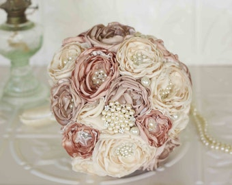 Fabric Flower and Brooch Bouquet, Lace Bridal Bouquet, Cream, Rose and Taupe Brooch Wedding Bouquet