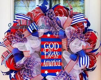 Patriotic Door Wreath/ God Bless America Wreath/ July 4th Door Wreath/ Red White Blue Wreath/ Patriotic Door Wreath/ Everyday Wreath