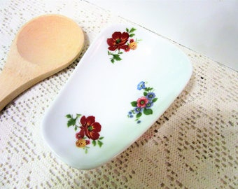 Spoon Rest Kitchen Hand Painted Cookware Ceramic Porcelain Pottery BLM