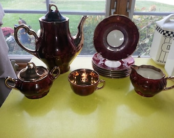 Antique 1940s Maroon and Gold Chodziez of Poland 17 Piece Tea Set GORGEOUS!