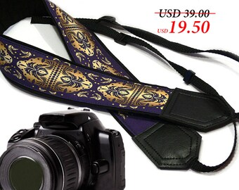 Ornamental camera strap. Violet and gold. DSLR/ SLR  Camera Strap.  Camera accessories. Photographer gift by InTePro