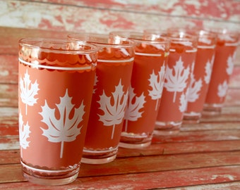 Vintage Hazel Atlas Terracotta / White Maple Leaves Frosted Glass Tumblers - Set of 6