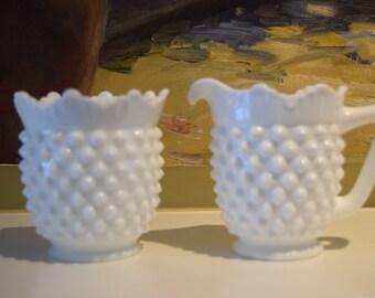 Fenton Milk Glass Cream Pitcher and Sugar Bowl