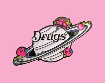 Drugs Glow in the Dark Saturn Enamel Pin