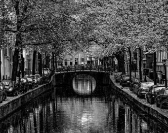 Autumn In Amsterdam, Cityscape Of The Amsterdam Canals In Holland. Black & White Photography Picture, B And W Art Prints Framed / Unframed