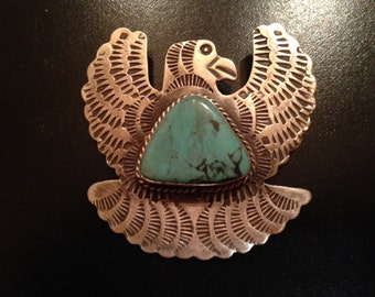 Sterling Silver Eagle Brooch/Pin with Impressive Turquoise Inset Stone