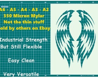 Tattoo style Angel wings STENCIL Tattoo StyleTough Reusable 350 Micron Material Various Sizes  #T091