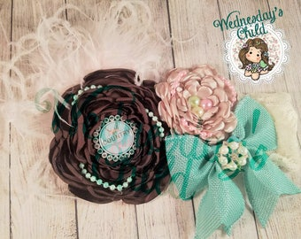 Country Chic - handmade satin flowers on lace elastic headband