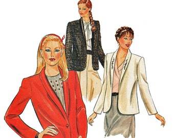 Blazer Jacket Pattern Misses Shawl Collar Jacket 1980s Sewing Pattern Butterick 4057 Size 12 14 16 Bust 34 36 38 UNCUT