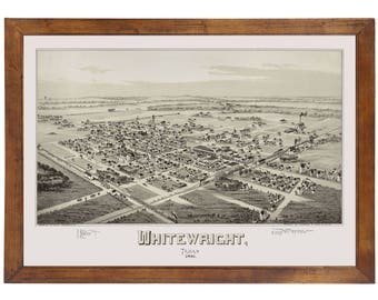 Whitewright, TX 1891 Bird's Eye View; 24x36 Print from a Vintage Lithograph