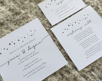 Custom Printable Wedding Invitation Set - 'Stary Nights' Design