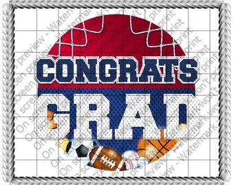 Graduation Sports Edible Cake or Cupcake Toppers - Choose Your Size