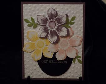 Flowers and leaves in a bowl, Get well soon Card  G111