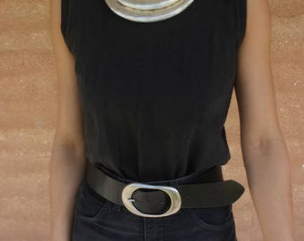 1990's vintage high waist genuine leather thick black belt with silver buckle, grunge, classic XS/S