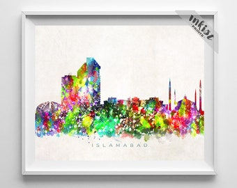 Islamabad Skyline, Pakistan Print, Watercolor Painting, Cityscape, City Poster, Dorm Room Decor, Wall Art, Home Decor, 4th of July