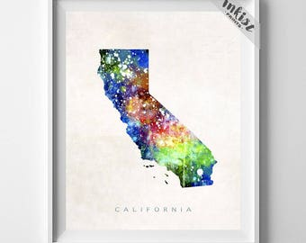 California Map Print, Los Angeles Print, California Poster, CA Map, Watercolor Painting, Map Art, Wall Decor, Travel, 4th of July