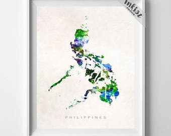 Philippines Map Print, Manila Print, Philippines Poster, Watercolor Painting, Map Art, Wall Decor, Travel, Home Decor, Dorm Decor