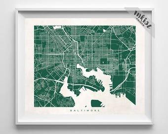 Baltimore Map, Maryland Print, Maryland Poster, Nursery Wall Art, Nursery Wall Decor, Bath Decor, Children Room Art, Dorm Decor
