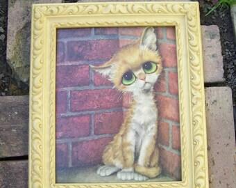 Cat with Big Eyes, Sad Cat,Pity Cat,Artist Girard Goodenow,Faux Tan Plastic Frame