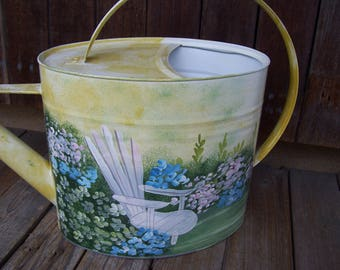 LARGE Watering Can with Garden Flowers and Adirondack Chair Hand Painted  Scene,Curved Handle,Metal Watering Can,Long Spout,Garden Decor