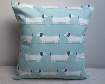 Handmade Fryetts 'Hot Dogs' Dachsunds  Sausage Dogs Cushion Cover Pillow Cover 16""