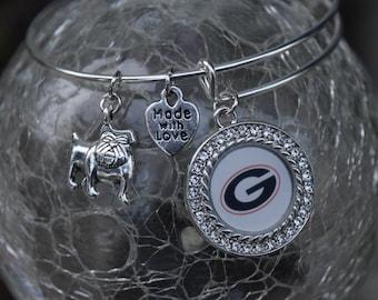 UGA, Georgia, Bulldogs, Georgia Bulldogs, Adjustable Bracelet, Charm Bracelet, Georgia Charm Bracelet, Bulldog Charm Bracelet, Bangle