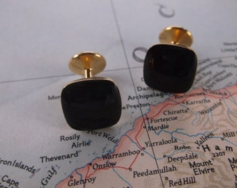 Vintage Sophisticated Black Cuff Links with Gold tone backs, Black Square Cuff Links, Sale Cuff Links