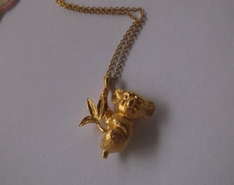 "Vintage Koala Bear Necklace Pendant on a long 23"" Gold Tone Chain, Very Cute Koala marsupial Necklace"