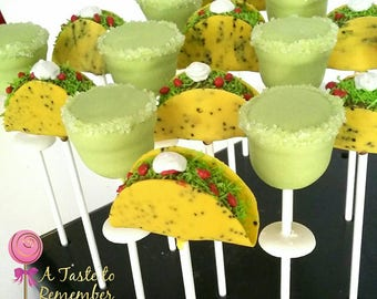 12 Taco and Margarita Cake Pops - Taco Tuesday, Girls Night Out, Cinco Dr Mayo, Fiesta