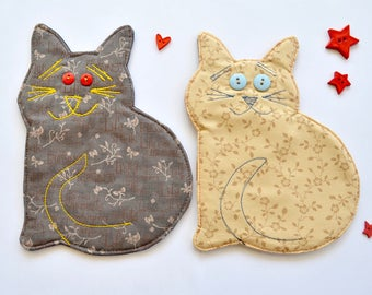 Cat mug rug, fabric coaster, kitten drink mat, gift for teacher, colleague, cat lover gift,