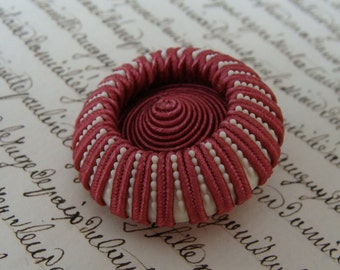 Large Vintage Sewing Button - Textile -PINK & WHITE - bouton couture
