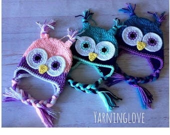 Bright OR Sleepy Eyed Owl Hat! Any size & any colors!