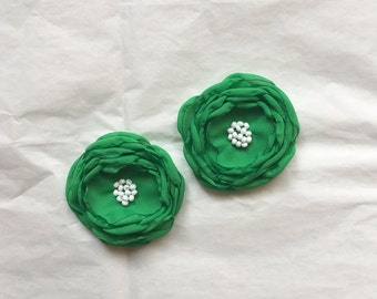 Kelly green chiffon flower hair clip . Green hair accessory. Burnt edge chiffon flower clip. Special occasion hair accessory. Green flower.