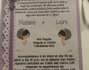 Invitaciones para primera comunion.  First communion invitations