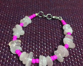 Moonstone and pink glass beaded bracelet. 6.5 inch