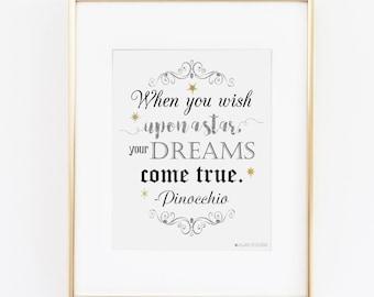 Disney Quote | Disney Decor | Pinocchio | Pinocchio Party| When You Wish Upon A Star Printable Art | Disney Princess | Pinocchio Print