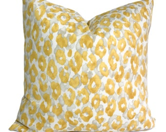 Outdoor cushion cover, 18x18, Yellow outdoor pillow, Patio cushion, Animal print pillow, Cheetah print pillow, Outdoor throw pillow