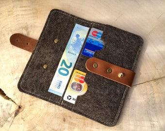 Wool felt & leather wallet