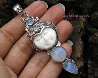 Sterling Silver & Rainbow Moonstone NAYA Goddess Pendant NG-1234