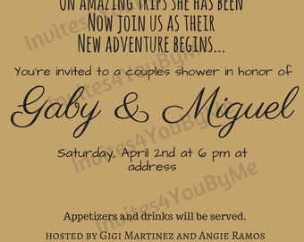 couples shower, travel theme shower, invitation