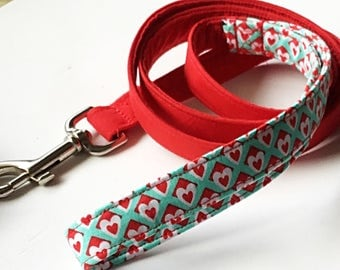Re & Aqua Valentine's Day Dog Leash