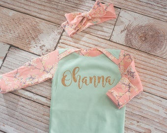 Personalized Floral Pink and Mint Green Baby Gown with Coordinating Bow~ Glitter Gold~ Baby Name