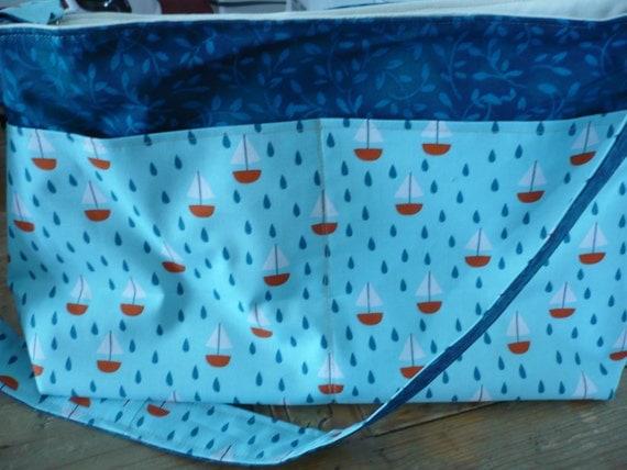 Blue Sailboats Purse Diaper Bag