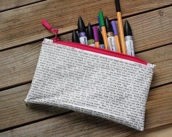 MTO Clear vinyl pencil case/make up bag - Typemachine print