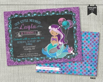 "Custom MERMAID invitations. Nautical chalkboard style first or any age birthday. Digital file or Printed. 5"" x 7"""