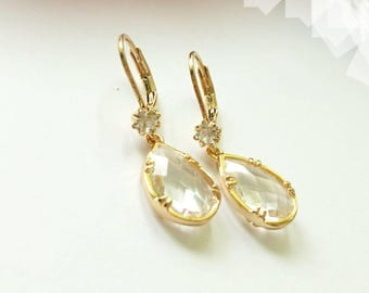 Clear Crystal Earrings. Gold dangles. White chandeliers. Bridal earrings, bridesmaids gifts.